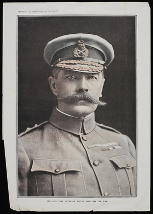 "Photographer unknown :The late Earl Kitchener, British Secretary for War. Supplement to ""The Auckland Weekly News"", June 15th 1916."
