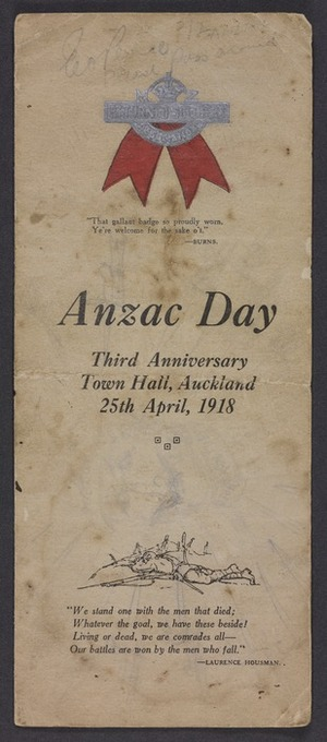 Anzac Day; third anniversary. Town Hall, Auckland, 25th April 1918. Programme, smoke concert. Brett Printing Co. Ltd, Auckland 22861 [1918]