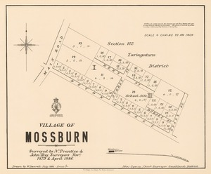 Village of Mossburn [electronic resource] surveyed by N. Prentice & John Hay, surveyors, Nov. 1879 & April 1886 ; drawn by W. Deverell.