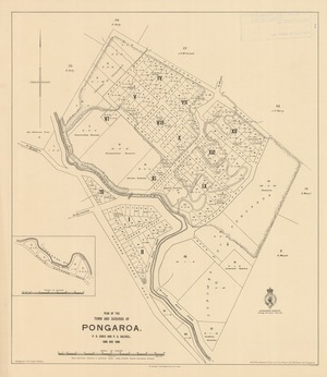 Plan of the town and suburbs of Pongaroa [electronic resource] / P.R. Earle and P.A. Dalziell, 1896 and 1898.
