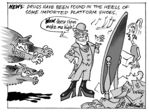Smith, Ashley W, 1948- :News; Drugs have been found in the heels of some imported platform shoes. 21 October 2013