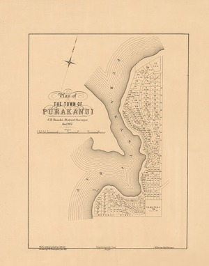 Plan of the town of Purakanui [electronic resource] / C.B. Shanks, District Surveyor, Octr. 1875 ; drawn by F.W. Flanagan, Dec 1875 ; photo-lithographed by A McColl.