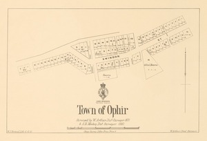 Town of Ophir [electronic resource] / surveyed by W. Arthur, dist. surveyor, 1871 & A.R. Mackay, dist. surveyor, 1880 ; W.J. Percival, Lith 6.12.81.