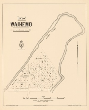 Town of Waihemo [electronic resource] / surveyed by G. Mackenzie; W.J. Percival, lith.