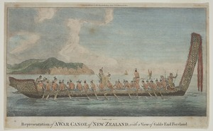Parkinson, Sydney, 1745-1771 :Representation of a war canoe of New Zealand, with a view of Gable End Foreland. / Prattent sculp. London, Alexr. Hogg, [1784?]