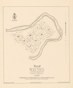 Town of Waynes [electronic resource] / surveyed by G. Mackenzie, June 1880 ; W,J, Percival Lith 29.9.80 ; W. Arthur Chief surveyor Otago.
