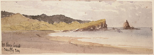 Hodgkins, William Mathew, 1833-1898 :The Otago coast. Sandfly Bay. [1880s?]