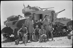 Tank and crew from a British unit, Alamein, Egypt, during World War 2 - Photograph taken by W A Whitlock
