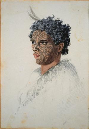 [Merrett, Joseph Jenner] 1815-1854 :[The Hobson album. Young Maori man of high rank, Whakatane. ca 1843]
