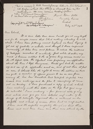 Hughes, Robert (Colonel), 1855-1944: Letter from W H Cunningham