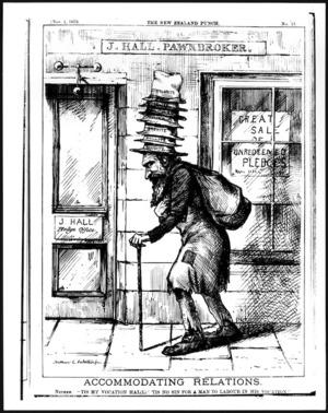 Palethorpe, Arthur L, fl 1870s :Accomodating Relations. New Zealand Punch, Wellington, November 1, 1879.