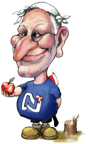 [John Key with an apple and an axe]. 17 July 2010