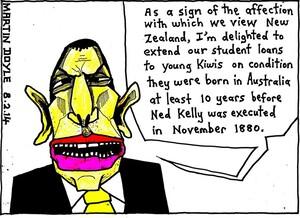 Doyle, Martin, 1956- :Abbott flicks a peanut to children born of Kiwis. 8 February 2014