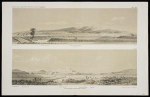 Hochstetter, Ferdinand von, 1829-1884 :Pirongia am Waipa, 2830 F. von Osten gesehen. Terrassenbildung in Ongaruhethale bei Katiaho. Dr F. Hochstetter del. Lang lith. [Wien, 1864]