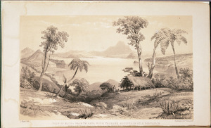 [Merrett, Joseph Jenner], 1816?-1854 :View of Taupo from Te Rapa with Tauhara mountain at a distance where the river Waikato issues from the lake / L Haghe lith. [1843]