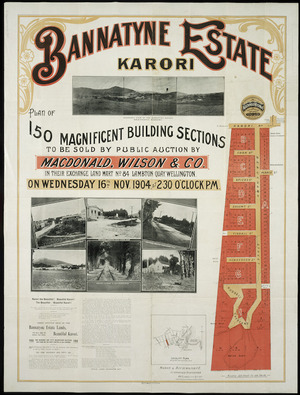 Bannatyne estate, Karori [cartographic material] : plan of 150 magnificent building sections / [surveyed by] Mason & Richmond.