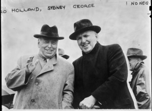 Prime Minister Sidney Holland and Opposition Leader Walter Nash at opening of Rimutaka tunnel - Photograph taken by Graeme Ayson