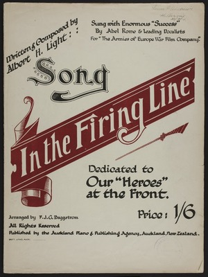 In the firing line : song / written & composed by Albert H. Light ; arr. by F.J.G. Baggstrom.