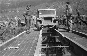 Kaye, George F, 1914- (Photographer) : World War 2 jeep testing a treadway in the Cassino area, Italy