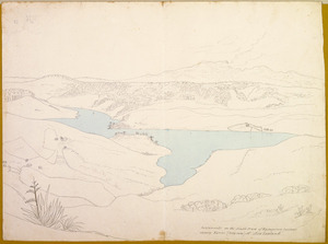 [Ashworth, Edward] 1814-1896 :Settlements on the South Creek of Waingaroa harbour shewing Karioi (carry owee) Mt., New Zealand. [1843]