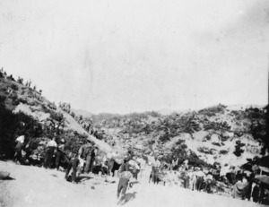 View of beach head and valley crowded with soldiers, Gallipoli, Turkey