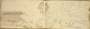 [Ashworth, Edward] 1814-1896 :Tamaki Settlements, Auckland, New Zealand. Harbour shore, New Zealand [1844]