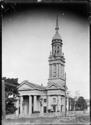 Exterior view of St Andrew's Presbyterian Church, Auckland