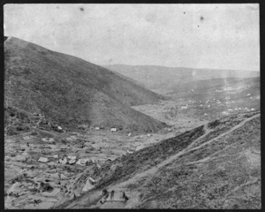 Overlooking gold miners camps in Gabriels Gully, Clutha district