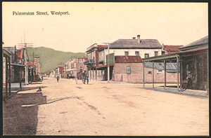 G Parkhouse (Firm, Westport) :Palmerston Street, Westport. New Zealand post card, issued by G Parkhouse, Westport. Phototyped in Saxony [ca 1910]