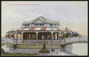 [Postcard]. The tea kiosk, Racecourse, Feilding, N.Z. Dominion of New Zealand post card (carte postale), printed in Germany. Carthew's series. Protected no. 1695 [ca 1909]