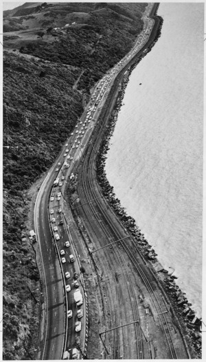 Aerial view of morning rush hour traffic on the Hutt Road, coming into Wellington