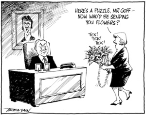 """Here's a puzzle, Mr Goff - now who would be sending you flowers?"" 30 July 2010"
