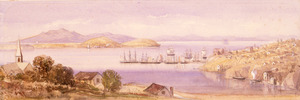 Williams, Edward Arthur 1824-1898 :[Auckland Harbour from above Freeman's Bay] [1866?]