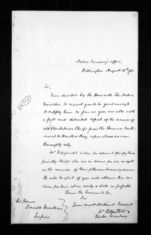 Letters from the general government to the government agent, Hawke's Bay