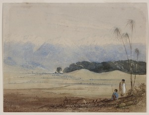 Tanner, Frances Mary, 1838?-1918 :[Two Maori overlooking Hawke's Bay and the Ruahine Range. ca 1865]