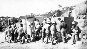 Soldiers and water tanks at the foot of Walker's Ridge, Gallipoli, Turkey
