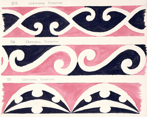 Godber, Albert Percy, 1876-1949 :[Drawings of Maori rafter patterns]. 86. Centennial Exhibition; 87. Centennial Exhibition; 88. Centennial Exhibition. [1939-1947].