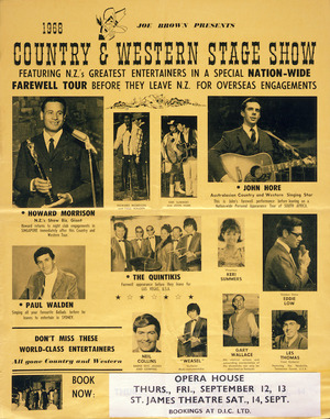 Joe Brown presents: Country and Western stage show, featuring N.Z.'s greatest entertainers in a special nation-wide farewell tour before they leave N.Z. for overseas engagements. 1968.