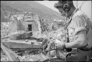 New Zealand soldier communicating with a tank in another area, Cassino, Italy, during World War 2