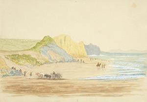 Hamley, Joseph Osbertus, 1820-1911 :Soldiers bathing. Wanganui Beach [January 1865?]