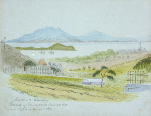 Hamley, Joseph Osbertus, 1820-1911 :Auckland Cemetery. Graves of Commodore Burnett, R. N. and Captain Mercer, R. A. [Between late 1863 and 1866]