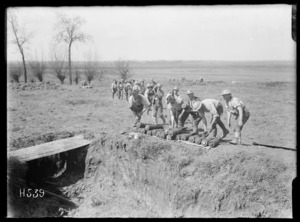 Stacking ammunition for a trench mortar battery, Colincamps