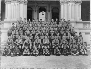 Boys of Croydon Preparatory School posing on the steps of the General Assembly Library, Wellington