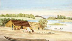 Hamley, Joseph Osbertus 1820-1911 :Horowhenua Lake, famous for wild duck shooting. [Lake Papaitonga, ca 1870]