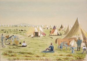 Hamley, Joseph Osbertus, 1820-1911 :Camp at Waitotara, Taranaki - Wanganui [1864. One of our Brasier's non fighting days]