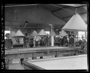 The billiard room in the YMCA hut at Grey Towers, the New Zealand Convalescent Hospital in Hornchurch, England