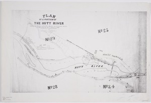Briscoe, Edward Villiers, 1824?-1899 :Plan of a portion of the Hutt River [copy of ms map]. Shewing the position of the river banks, and protection groins on Thursday the 10th of February 1876. [Signed] Edward V Briscoe, Govt surveyor.