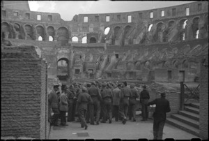 New Zealand soldiers at the Colosseum, Rome, Italy, while on leave after World War 2