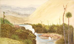 Hamley, Joseph Osbertus, 1820-1911 :[Sandhills and waterfall near Tauranga. 1864?]