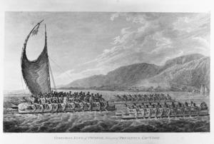 Webber, John, 1751-1793 :Tereoboo, king of Owyhee, bringing presents to Capt Cook. [1784]. J. Webber del. B T Pouncy sc. [London, 1784]